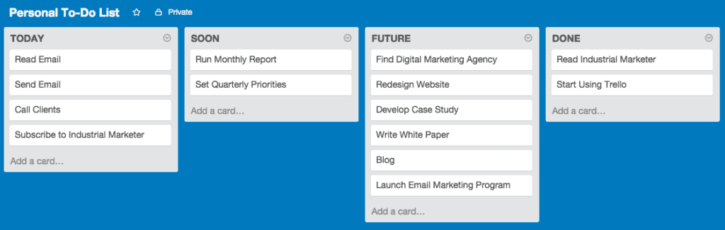 A simple trello board